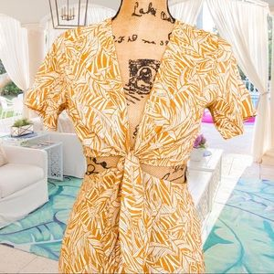 Hayden SET yellow tropical linen skirt crop top